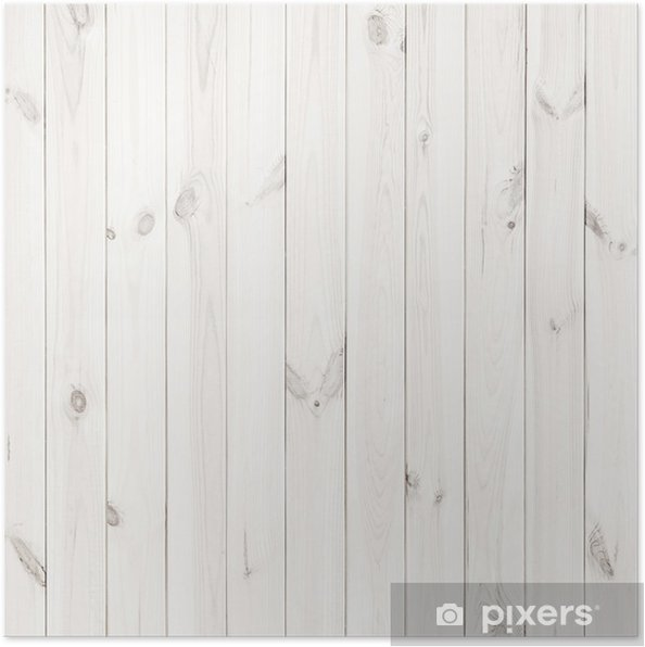 White Wood Texture Background Wooden Table Top View Poster