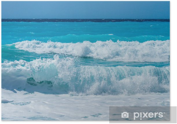 wild beach of the island of Lefkas in Greece Poster - Water