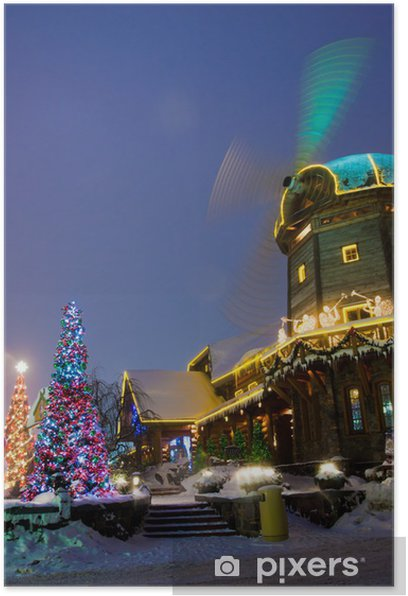 Windmill with christmass decorations Poster - Other objects