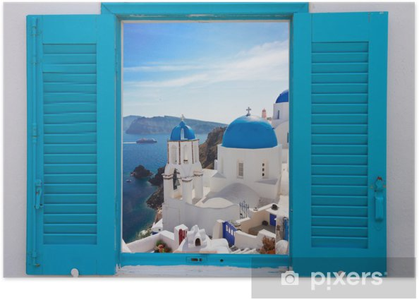 window with view of caldera and church, Santorini Poster - Themes