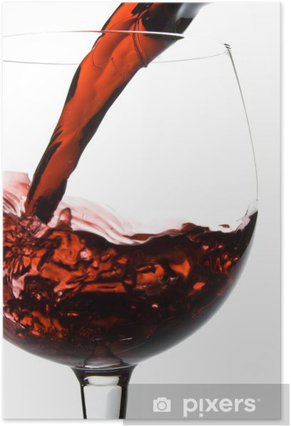 Wine pouring into glass from decanter Poster - Alcohol