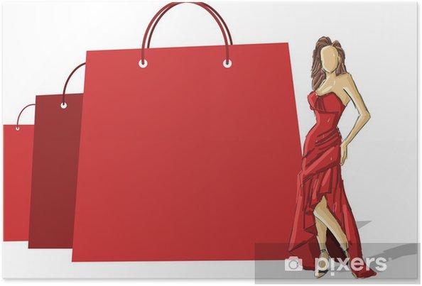 Mooie Rode Jurk.Poster Winkelen Papieren Zakken En Mooie Vrouw In Rode Jurk Pixers