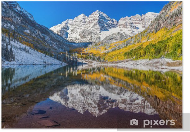 Winter And Fall Foliage In Maroon Bells Aspen Co Poster