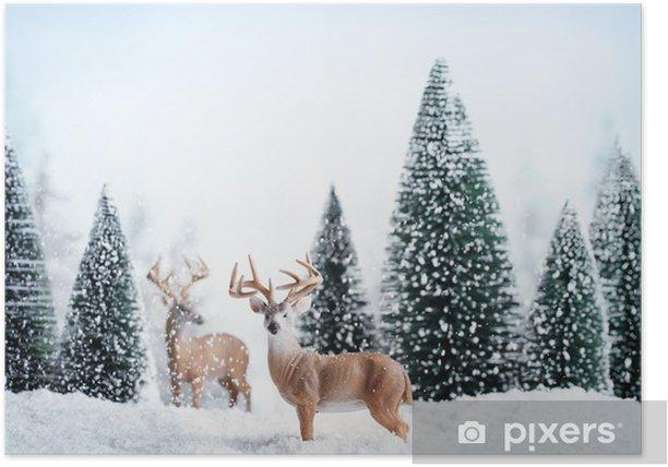 Poster Winterlandschap met herten, sneeuw en spar. - Thema's