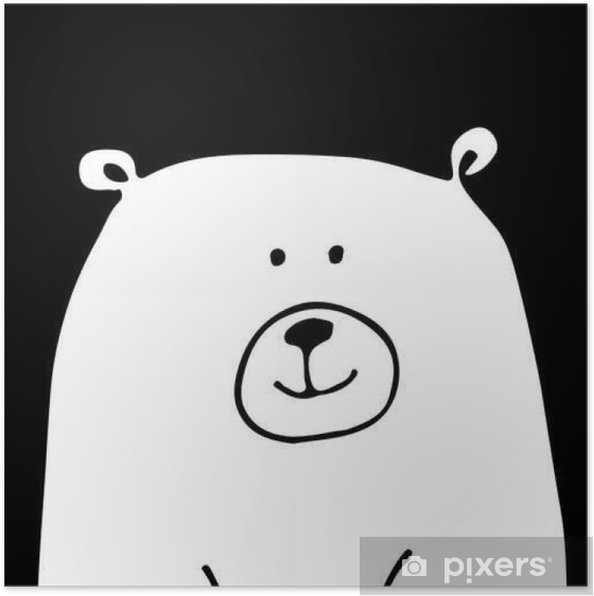 Poster Wit draag, schets voor uw ontwerp - Dieren