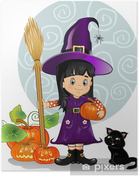 Witch girl with cat and pumpkins Poster - International Celebrations