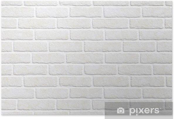 Poster Witte bakstenen muur achtergrond. - Thema's