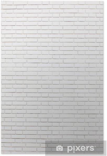 Poster Witte bakstenen muur -