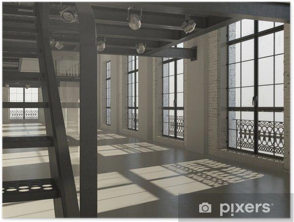 Poster witte minimalistische loft interieur 3d render u2022 pixers