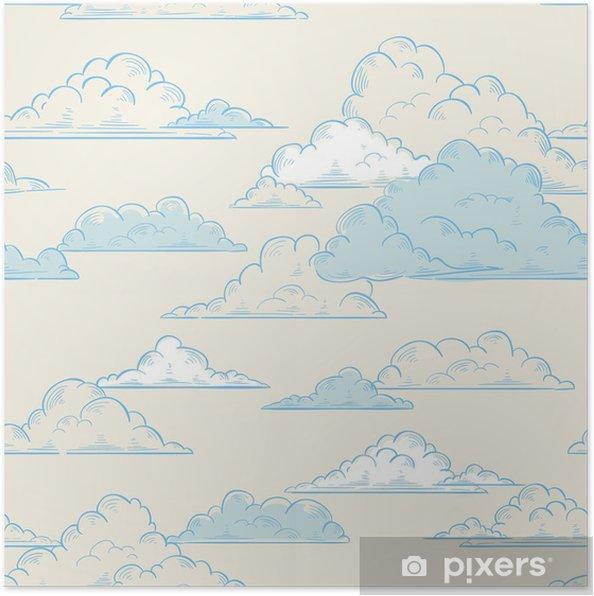 Poster Wolken naadloze patroon met de hand getekende illustratie - Thema's