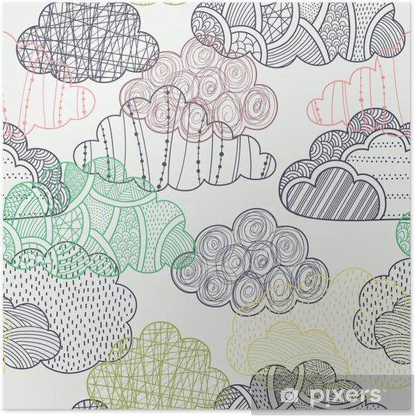 Poster Wolken naadloze patroon - Thema's