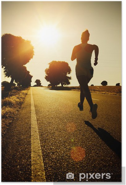 Woman running on sunset Poster - Themes