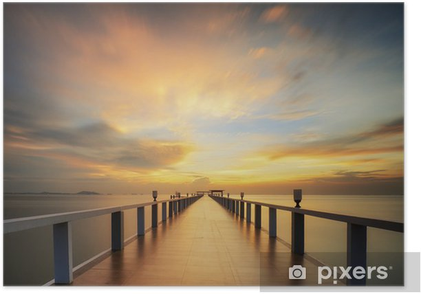 Wooded bridge in the port between sunrise. Poster -