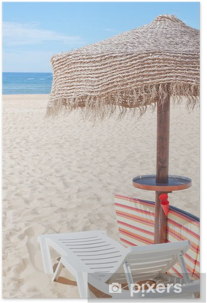 Wooden Beach Umbrella And Sun Bed On The For Holidays Poster