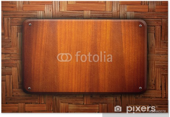 wooden board on rattan background Poster - Heavy Industry