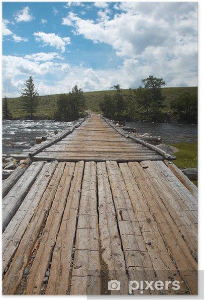 wooden bridge over river Poster - Infrastructure