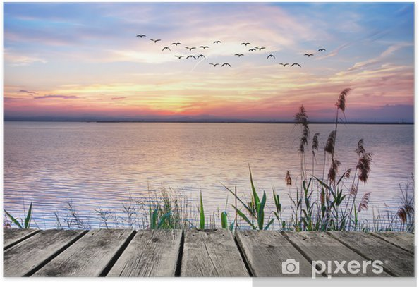 Wooden jetty at sunset Poster -