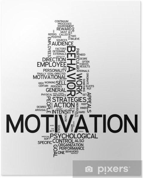 """Poster Word Cloud """"Motivatie"""" - Zakelijke Concepten"""