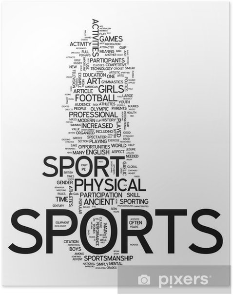 """Poster Word Cloud """"Sports"""" - Matchs et compétition"""