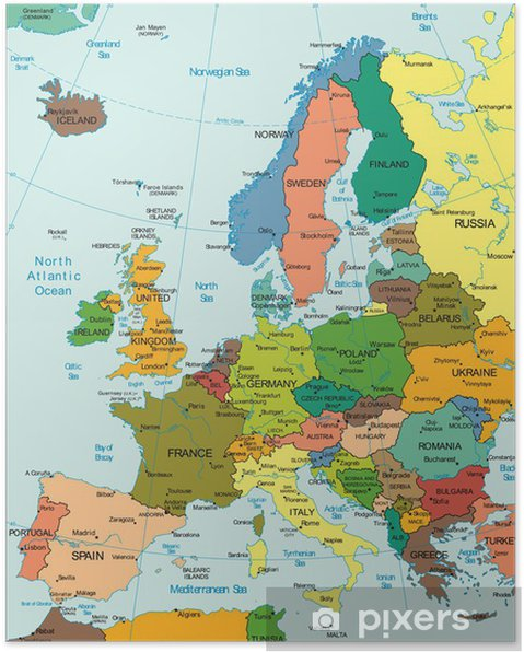 World Earth Europe Continent Country map Poster - Themes