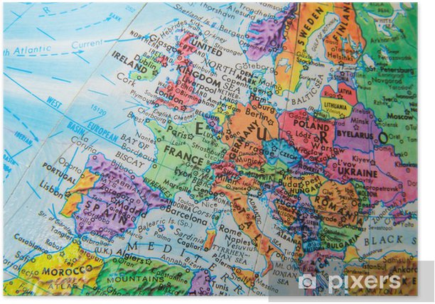 Map Of The World Close Up.World Globe Map Close Up Of Europe Poster