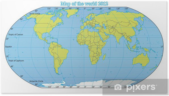 World Map 2012 Including New States Like South Sudan Poster