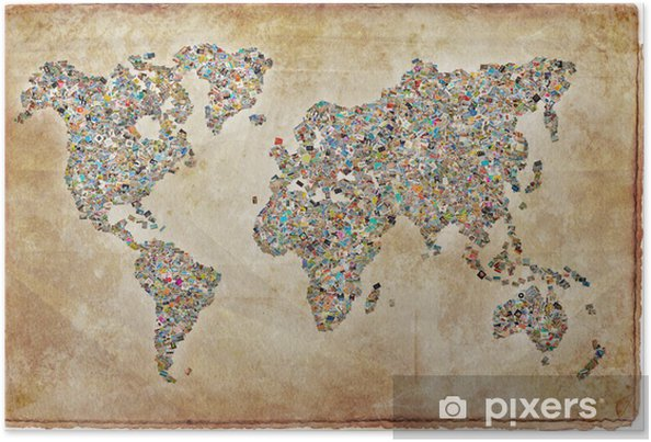 Poster World Map bilder, vintagestruktur - Teman