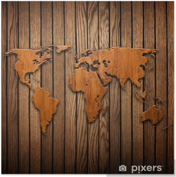 world map carving on wood plank Poster • Pixers® • We live to change