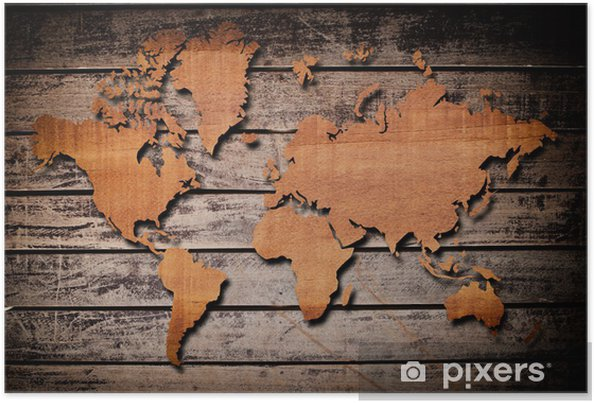 World map carving on wood plank. Poster • Pixers® • We live to change