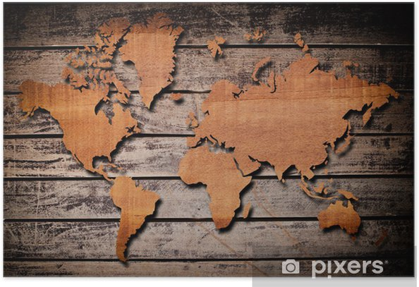 World map carving on wood plank. Poster
