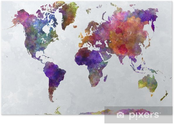 World map in watercolorpurple and blue Poster -