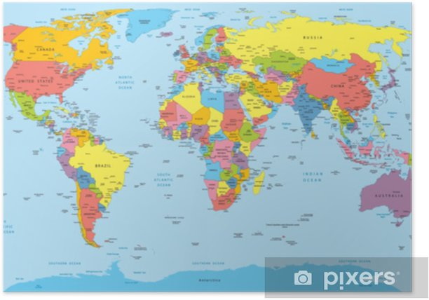 Cartina Mondo Con Nomi.World Map With Countries Country And City Names Poster Pixers We Live To Change