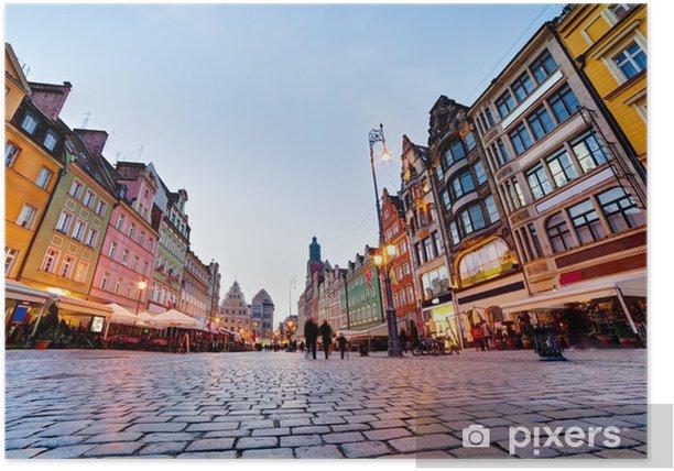 Poster Wroclaw, en Pologne. La place du marché lors de la soirée - Thèmes