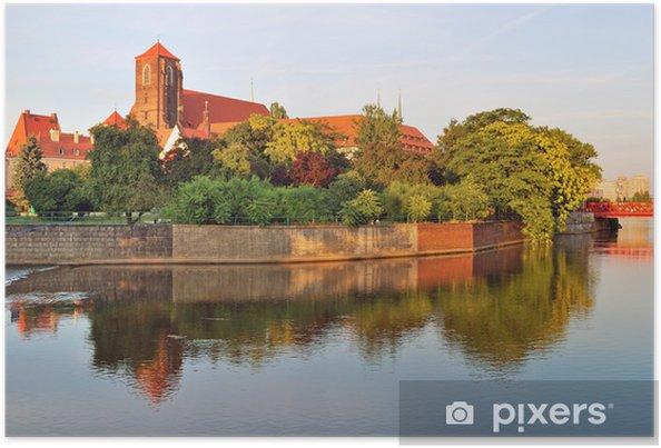 Poster Wroclaw. Oder rivière avec belles îles - Thèmes
