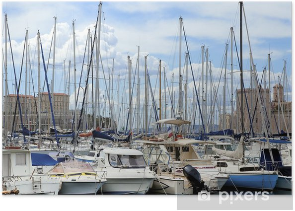 Yachts in port Poster - Boats