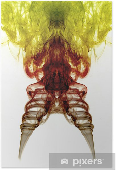 Yellow, brown and red smoke isolated on white background Poster - Themes