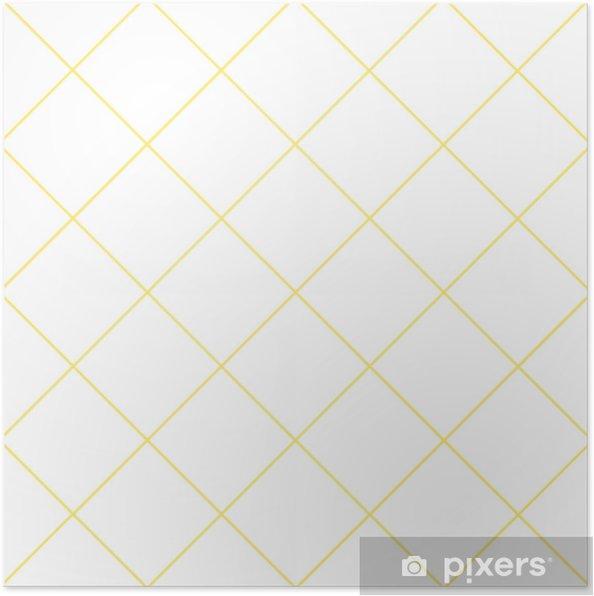 Yellow Grid White Diamond Background Vector Illustration Poster