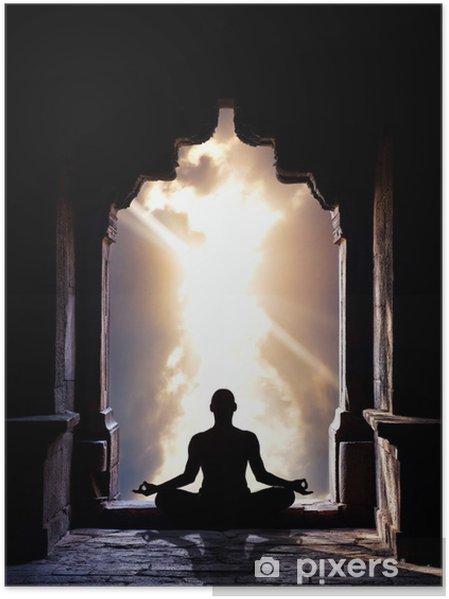 Poster Yoga meditatie in tempel - Gezondheid