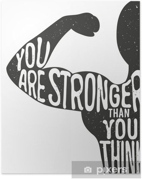 You are stronger than you think. Lettering vintage typographic poster. Motivational and inspirational vector illustration, man silhouette and quote. fitness club and bodybuilding advertising template. Poster - Sports