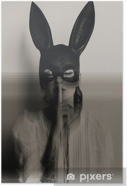 young attractive woman in bunny mask showing quiet sign with her eyes closed Poster - People