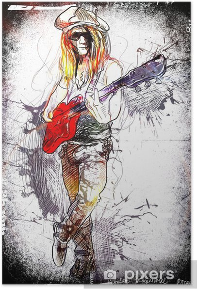 young guitarist - a hand drawn grunge illustration Poster - Entertainment