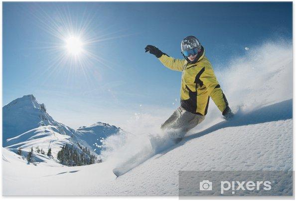 Póster Young snowboarder en polvo profundo - freeride extremo - Deportes de invierno