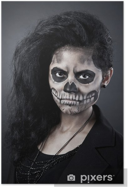 Young woman in day of the dead mask skull. Halloween face art Poster - International Celebrations