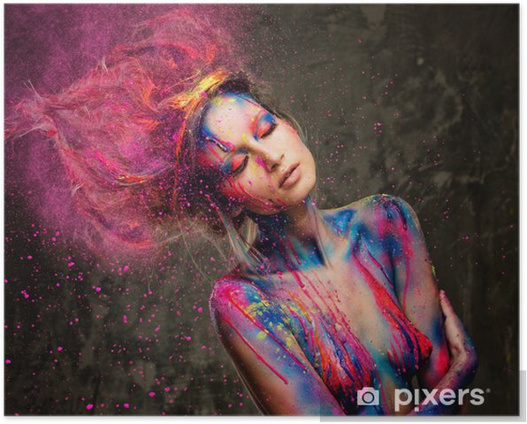Young woman muse with creative body art and hairdo Poster - Destinations