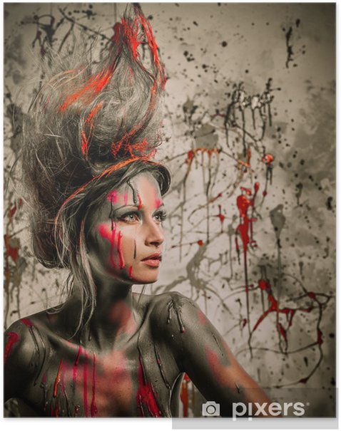 Young woman muse with creative body art and hairdo Poster - Styles