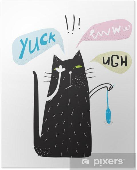 Poster Yuck eww ugh cat doodle walgelijke poster. - Dieren