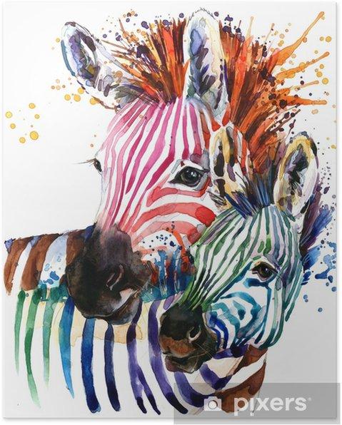 Poster Zebra illustratie met splash aquarel textuur. regenboog achtergrond voor mode afdrukken, poster voor textiel, modevormgeving - Dieren