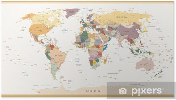 Poster Zeer gedetailleerde Politieke Kaart van de Wereld Vintage Kleuren - Thema's