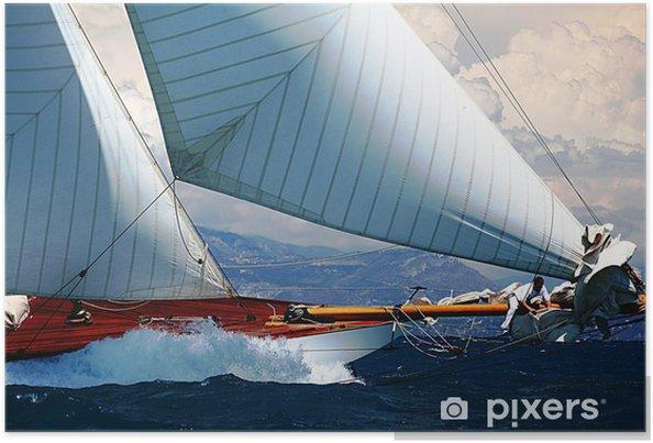 Poster Zeilboten regatta haven Middellandse Zee riviera provence - iStaging