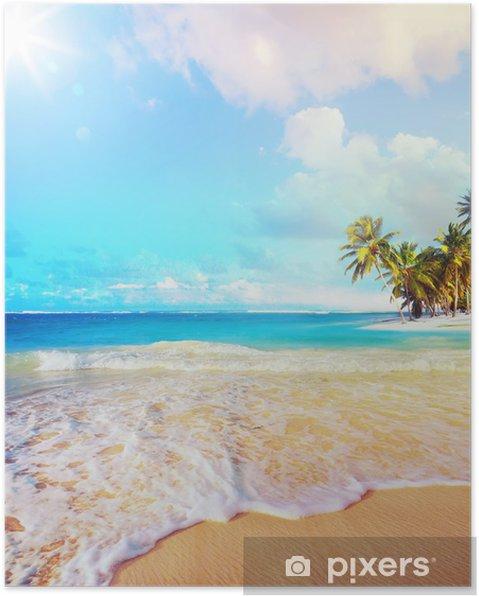 Poster Zomer Kunst vakantie oceaan strand - Palmbomen